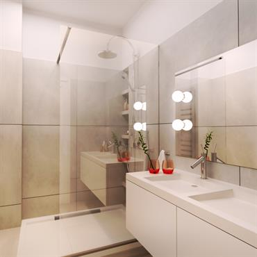 Amenagement d'une salle de bain blanc et creme