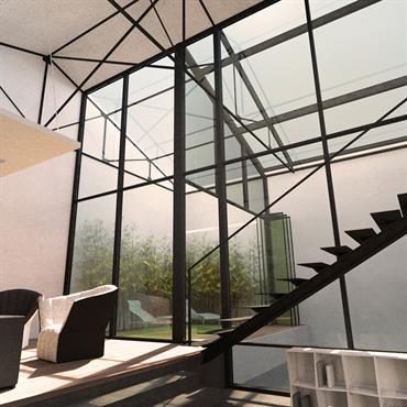 Bel esprit loft dans cet escalier près de la verriere  avec une belle composition de matériau : Metal , verre et bois