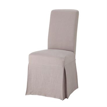 Housse longue de chaise en lin lavé rose Margaux