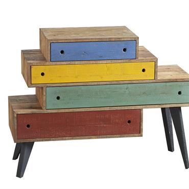 Commande 4 tiroirs de couleurs différentes