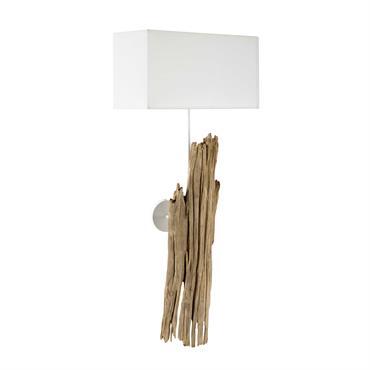 Applique en bois et coton blanche H 93 cm REFUGE