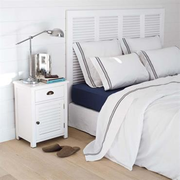 Table de chevet avec tiroir en bois blanche L 45 cm Barbade