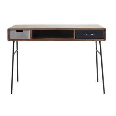 Sobre et épuré, ce bureau en bois de manguier massif vous offrira un beau plan de travail. Monté sur un piètement en métal, ce bureau moderne est complété par 2 ...