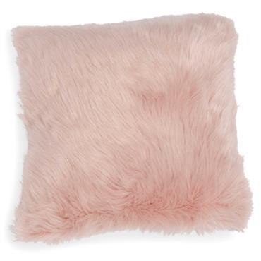 Housse de coussin en fausse fourrure rose 40 x 40 cm MORGANE