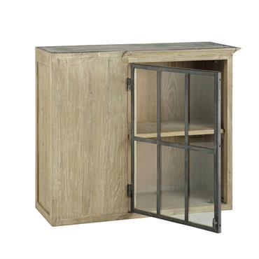 Meuble haut d'angle de cuisine ouverture gauche en bois recyclé