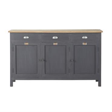 Avec ses 3 tiroirs et ses 3 portes, ce buffet gris vous propose un bel espace de stockage. Surmonté d'un plateau en chêne, ce buffet 3 portes sera également très ...