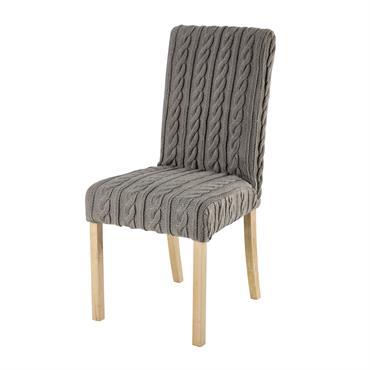 Housse de chaise tricotée grise Margaux