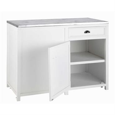 Meuble bas de cuisine ouverture gauche en pin blanc L 120 cm Newport