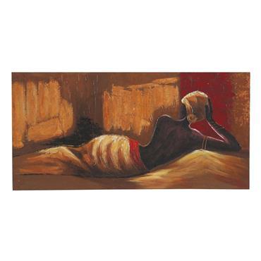 Toile femme africaine peinte main orange 70 x 140 cm RIMA