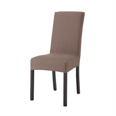 Housse de chaise en coton taupe Margaux