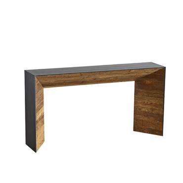 Console en vieux bois recyclé avec revêtement en métal