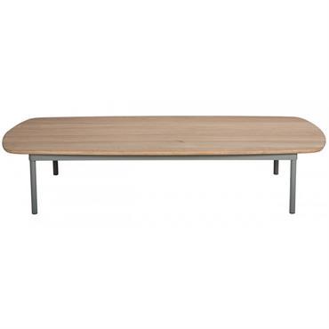 Table basse teck et aluminium au double style classique et contemporain