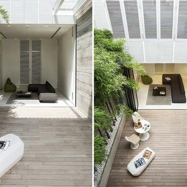 Terrasse appartement ; bois et bambou
