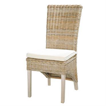 Chaise en rotin Kubu et mahogany massif grisée Key West