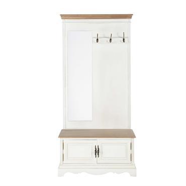 Avec sa belle patine couleur crème, ce meuble d'entrée en bois donnera un cachet authentique à votre déco. Doté de 3 patères pour vos manteaux, ce meuble d'entrée possède également ...