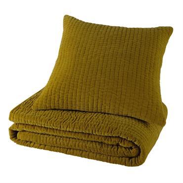 Boutis piqué en velours jaune moutarde 240 x 260 cm
