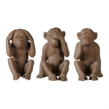 3 statues singes en résine marron H 40 cm GANDHI