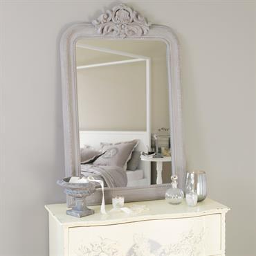 Miroir sculpté en paulownia gris H 120 cm ALTESSE
