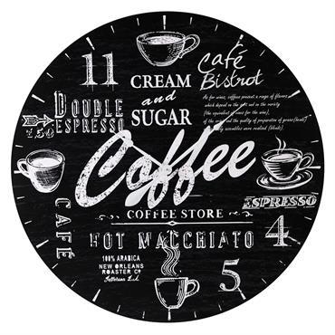 Horloge en bois noire D 90 cm COFFEE HOUSE