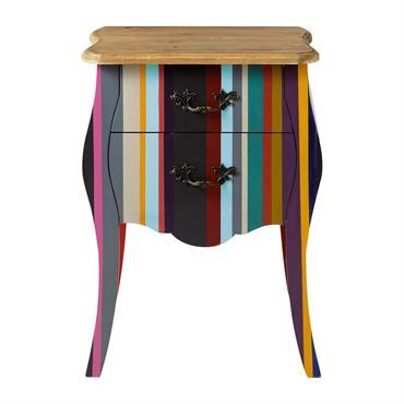 Table de chevet à rayures en bois de paulownia multicolore L 45