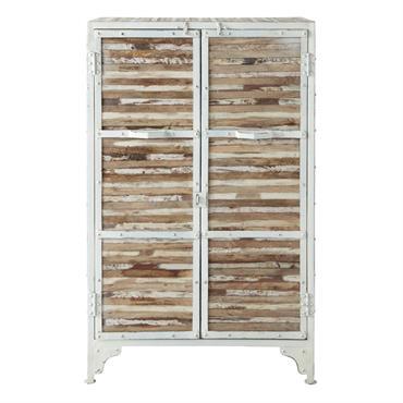 Ce produit est composé à partir de bois récupéré. Ce système permet d'offrir une deuxième vie à la matière première. En métal et bois, ce cabinet blanc possède un espace ...