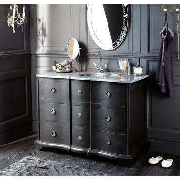 Pour une salle de bains élégante et raffinée, choisissez le meuble vasque en manguier noir EUGENIE. Surmonté d'un plateau en pierre, il vous séduira par sa jolie façade noire ondulée. ...
