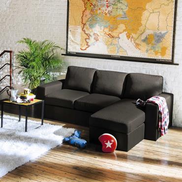 Canapé d'angle 3 places gris Jules