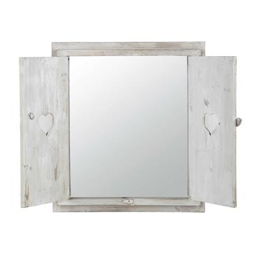 Miroir fenêtre avec cœurs en bois blanchi H 71 cm LUCY