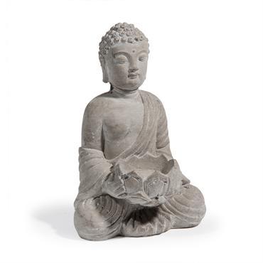 Photophore bouddha en ciment H 19 cm SÉRÉNITÉ