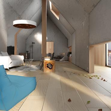 Grande pièce à vivre au style original grâce au mur en béton brut - Vue droite sur le salon