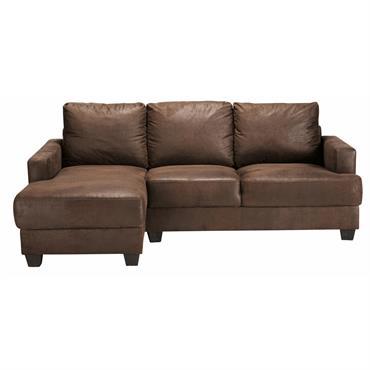 Canapé d'angle gauche 3/4 places en microsuède marron Philadelphie