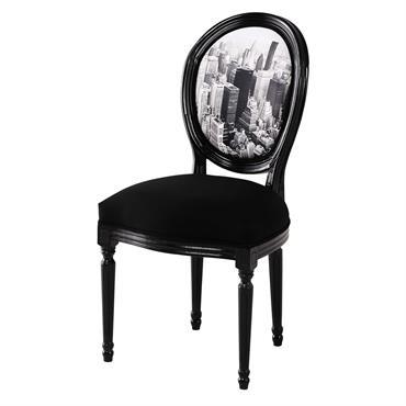 Chaise médaillon en coton imprimé et châtaignier noire Louis