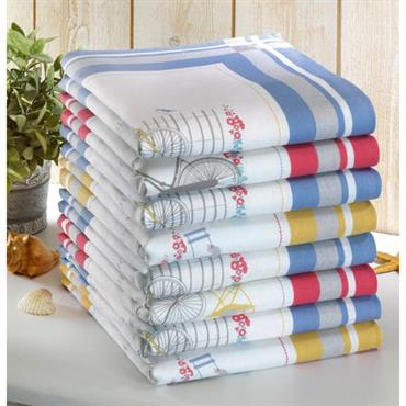 Torchon : sergé 100% coton Essuie-mains : nid d´abeille 100% coton Lavable à 40° Torchon : motifs placés Essuie-mains : motifs placés