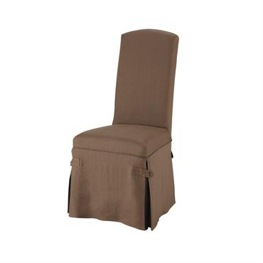 Housse longue de chaise en lin taupe Alice