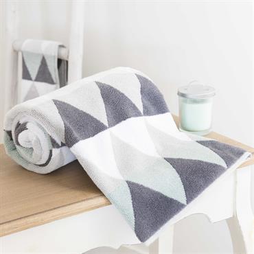 Drap de bain en coton gris 70x140 TRIANGLE