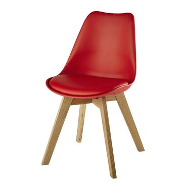 Chaise scandinave rouge et chêne massif Ice