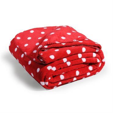 Plaid doux motif pois rouge 150 x 230 cm CHALEUR
