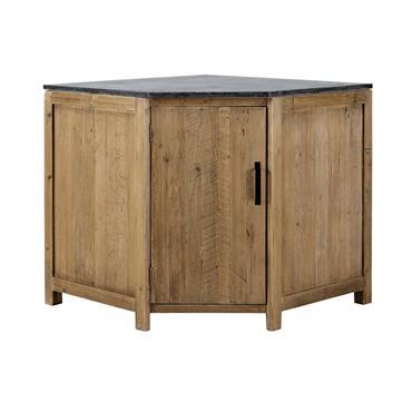 Meuble bas d'angle de cuisine ouverture gauche en bois recyclé L 97