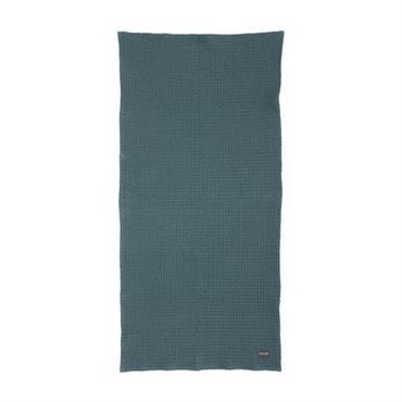 Serviette / 100 x 50 cm - Ferm Living Bleu pétrole en Tissu