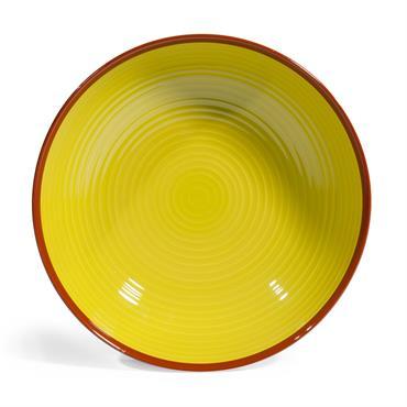 Assiette creuse en faïence verte/beige D 20 cm MADRID