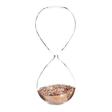 Sablier à paillettes en verre H 25 cm COPPER