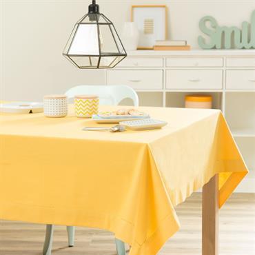 Nappe unie en coton jaune moutarde 150 x 250 cm