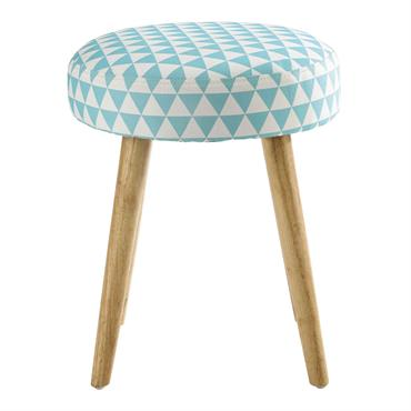 Tabouret motif triangles en coton bleu et bois PIN'UP