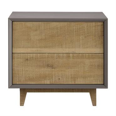 Table de chevet avec tiroirs grise L50 Vermont