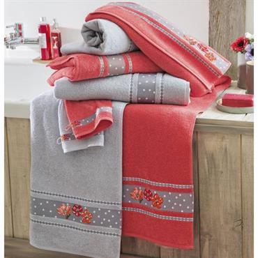 Un décor illuminé de couleurs joyeuses Eponge 100% coton, 400 g/m² Lavable à 60° Finition liteau jacquard motif floral Prix tarif unitaire gant 3€