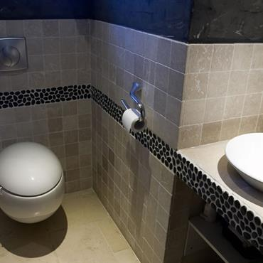 Dans un esprit tendance, ces toilettes offrent l'ambiance relaxante de la pierre naturelle et des équipements design.