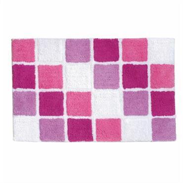 Eponge 100% coton, 1300 g/m² Lavable à 30° Motif mosaïque reliefé. Dim : 50cm x 80cm