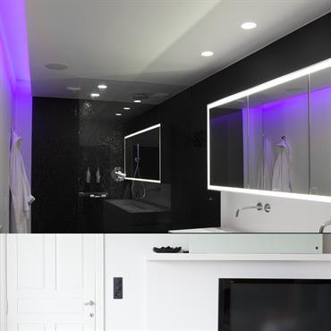 Salle de bain minimaliste, douche à l'italienne. Robinetterie en inox poli. Revêtement mural en mosaïque de pâte de verre noire. Spots encastrés fixes.