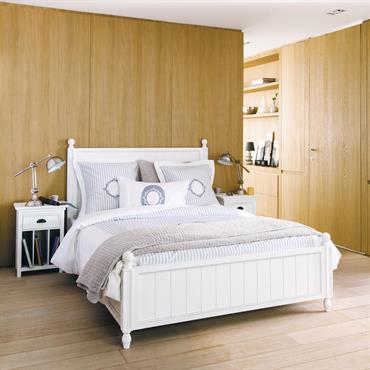 Lit 140x190 en pin blanc Newport