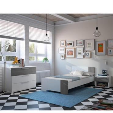 Composition : panneaux de particules. Finition : décor blanc/chêne gris ou blanc/quartz. Lit : Dimensions (L x H x P) : 196 x 70 x 97 cm. Dimensions de couchage ...